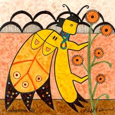 Hopi painting of a stylized butterfly touching a flowering plant with cloud symbols in background speaks to Hopi butterfly association with life giving spring moisture and flowers