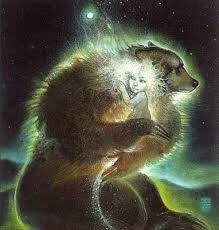 Drawing of a large bear holding child with white light and stars around her head showing how she feels safe and protected.