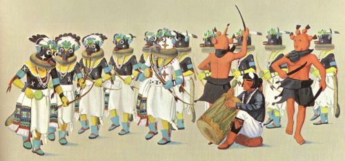 Painting of Ho-ote Kachina Dance by Fred Kabotie illustrates ceremony with Hopi kachinas dancing