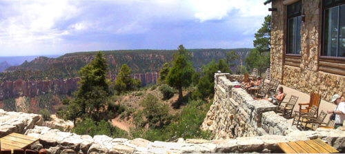 North Rim Lodge view from outside deck taken in 2011 by Sandra Cosentino