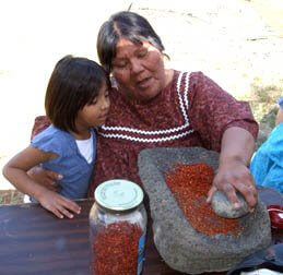 Yavapai-Apache woman and child grinding lemonberries on stone metate by Sandra Cosentino