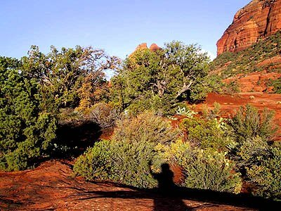 Show of a person on red rock shelf next to a cliff.Nature awareness, deep observing. Illustrates an invitation to Wonder and Wander in nature in our Sedona outdoor seminars.