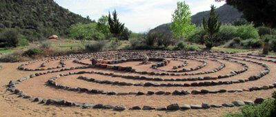 7 path stone labyrinth signifies ceremony that accompanies shamanic skills development