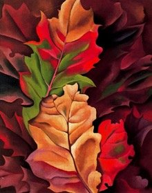 Painting of fall leaves symbolizes seasonal change and special events and programs.