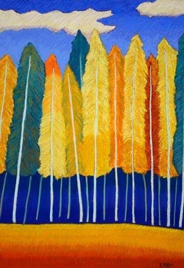 Yellow and orange feather trees art; symbolizes Fall equinox, time of change and Sedona fall retreats
