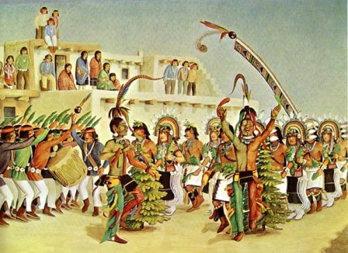 Hopi Social Dance historic painting by Fred Kabotie. These dances are usually open to visitors.