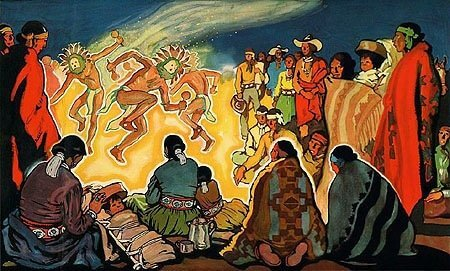 1938 painting of a Navajo Fire Dance with families gathered watching. Ceremonies are an important part of the Navajo connection to their homeland.