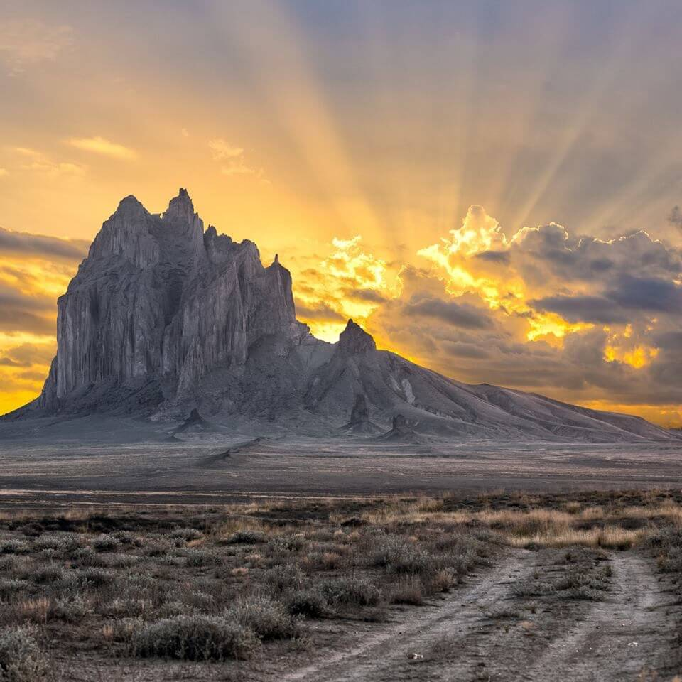 Ship Rock, New Mexico sunrise. This is on Navajo lands and is a sacred site related to their origin stories and their sacred geography.
