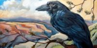 Painting of raven on a branch overlooking a canyon. Represents one of the power animals we connect with and the mystic vision.