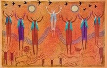 Ancestor spiritual beings with arms raised on on red rock background. Symbolizes calling on spiritual energies and time-honored ways to work with ceremony.