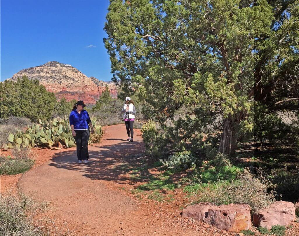 2 people walking slowly on a red earth path with Thunder Mountain in background. They are doing deep observing in nature.