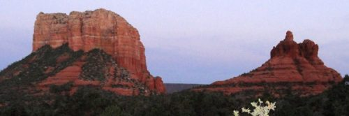 Looking at Bell Rock and Courthouse Rock from the Chapel of the Holy Cross in evening light is an inspiring sight today as it has been to ancestral people for thousands of years.
